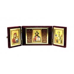 Венчальный складень бархат малый Три лика с молитвой (уп.1шт.)