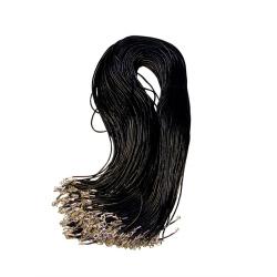 Гайтан нат.кожа с карабином (черный) (уп.100шт.)
