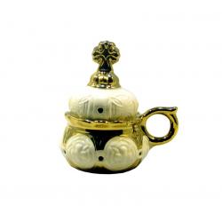 Кадильница керам. белая с золотом (уп.2шт.)