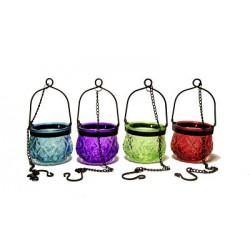 Лампада на цепочке стеклянная (красный,фиолетовый,бирюзовый,зеленый) (уп. 1шт.)