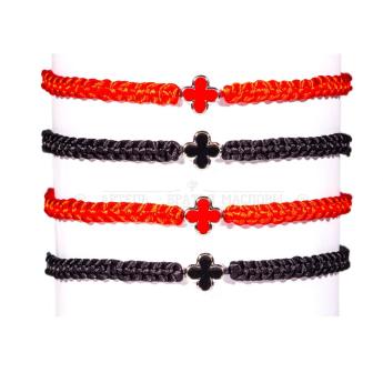 Браслет плетеный красный/черный с крестами №3 (10 шт.)