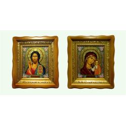 Икона в багете и в киоте Спаситель и Казанская (27*24см)