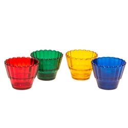 Лампада стекл. рифленая (зеленая,красная,синяя,желтая) (уп.50шт.)