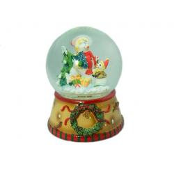 """Шар-композиция """"Рождество"""" с елкой и снеговиком (музыкальный с движ. деталями) (уп.1шт.)"""