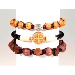 Браслет деревянный с крестом, в ассорт. (12 шт.)
