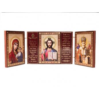 Икона-складень тройная с молитвой (уп.5шт.)