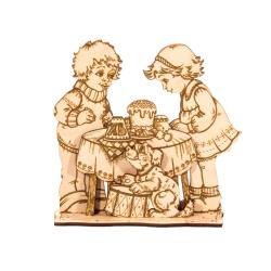 """Пасхальная объемная самоделка-раскраска""""Дети у стола""""дерево (уп.10шт.)"""