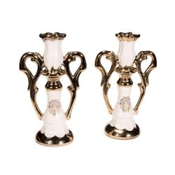 Подсвечник керам. Тюльпан с 2 ручками золото