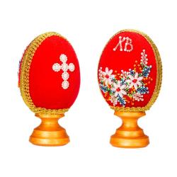 Яйцо ХВ на подставке бархатное со стразами (уп.1шт.)