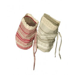 Подарочный мешочек с кружевом, 22Х18 см,диам. 12см (100% лён) (орнамент в ассортим.)