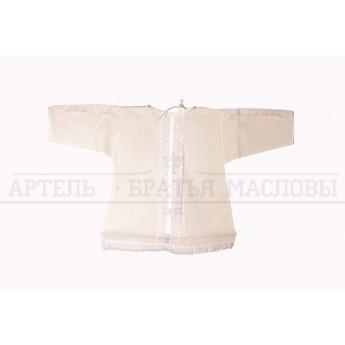 Рубашка крестильная белая с кружевом, 1-2г.(р. 80-86, 100% хлопок)