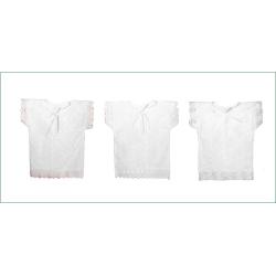 Рубашка крестильная с вышивкой и кружевом, 1-6 мес.(р.62-68, 100% хлопок)(белый,голубой,розовый)