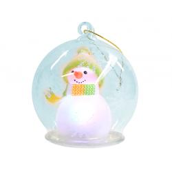 Снеговик в стекл.шаре с узорами и подсветкой (G1-24, размер 9 см) (уп. 1шт.)