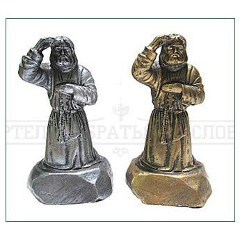 """Статуэтка """"Прп. Серафим Саровский. Моление на камне"""" (гипс; цвета:серебро, бронза) (уп.10шт.)"""