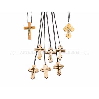 Крест нательный деревянный со шнурком (уп.100шт.)