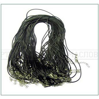 Гайтан каучук с карабином 65см (черный) (уп. 10 шт.)