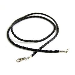 Гайтан плетен.кожа с замком карабином (черный) (уп. 100 шт.)