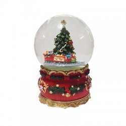 """Шар-композиция """"Рождество"""" с елкой и паровозом (музыкальный с движ. деталями) (уп.1шт.)"""