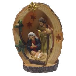 """Рождественская композиция """"Св.Семейство в дереве"""" с подсветкой, 14,5см (уп.1шт.)"""