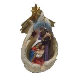 """Рождественская композиция """"Св.Семейство в крыльях под звездой"""" с подсветкой, 16,5см (уп.1шт.)"""