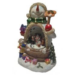 """Рождественская композиция """"Снеговик с детьми"""" (с подсветкой и движ. деталями) (уп.1шт.)"""