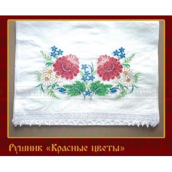 """Рушник """"Красные цветы"""" (лён)"""