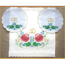 """Венчальный комплект """"Цветы"""" (лён)"""