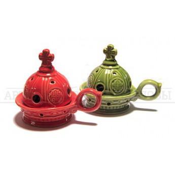 Кадильница керамическая (зеленая,красная) (уп. 1шт.)