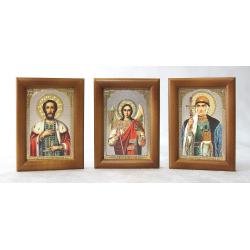 Комплект 60 икон в дер.рамке под стеклом ИМЕННЫЕ (58*84мм)