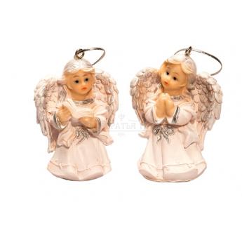 Фигурка ангела подвесная средн. (бел. с золотом) (7,6см)