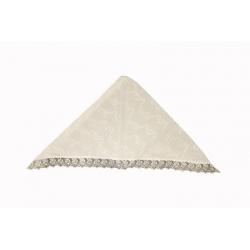 Косынка крестильная с кружевом и вышивкой белая/бежевая (100% хлопок)