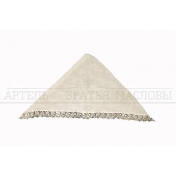 Косынка крестильная с кружевом и вышивкой белая (100% хлопок)