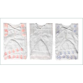 Крестильный набор с кружевом и вышивкой (чепчик,пеленка,рубашка), 1-6м.(р.62-68, 100% хлопок)