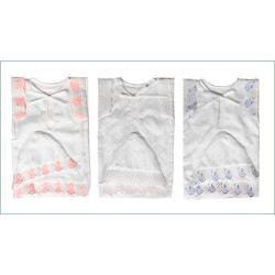 Крестильный набор с кружевом и вышивкой (чепчик,пеленка,рубашка), 6м.-1г. (р.74-80, 100% хлопок)