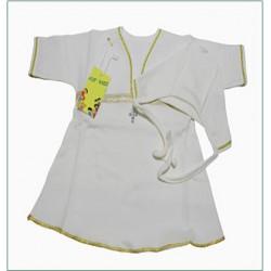 Крестильный набор с кружевом и стразами (чепчик,рубашка), 6м.-1г. (р.74-80, трикотаж)