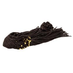 Гайтан шёлковый крупный со жгутом и кольцом черный (уп.100шт.)