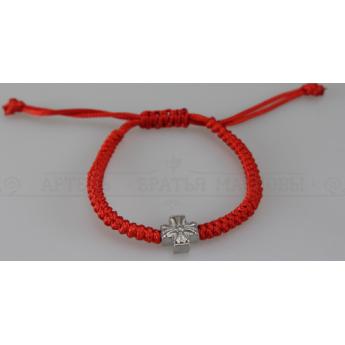 Браслет плетеный красный с крестами №2 (12 шт.)