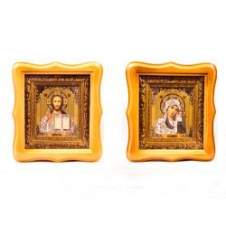 Икона в багете под стеклом Спаситель и Казанская (21*19см)