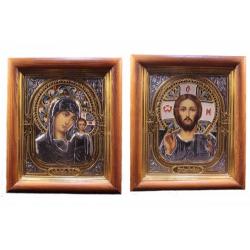 Икона с эмалью в багете под стеклом (27*23см)