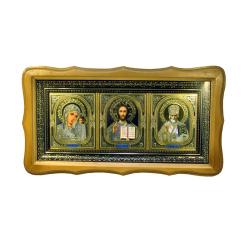 Икона в багете тройная с рамкой вензель