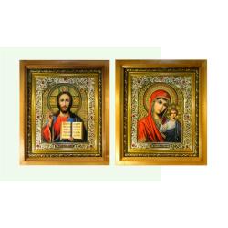 Икона в багете под стеклом со стразами Спаситель и Казанская (24*21см)