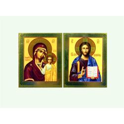 Икона погребальная Спаситель/Казанская 60х75мм (уп.10шт.)