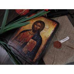 Икона под старину в мешковине с печатью (23*17см)