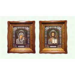Икона Спаситель и Казанская в багете и в киоте,27,5х31см (уп.2шт)