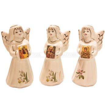 Ангел с иконой малый 9,5см., кисловодский фарфор (уп.1шт.)