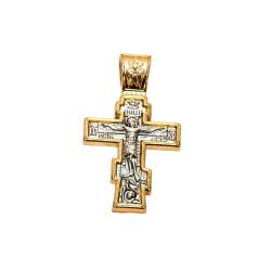 Крест нательный большой 5,5см*3см (металл. сплав под серебро, окантовка под золото)(уп.10шт.)
