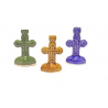 """Подсвечник керам. """"Крест"""" (голубой,зеленый,корич.,красный,синий) (уп.20шт.)"""