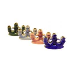 Подсвечник керам. Тройной малый (синий,голубой,зеленый,розовый) (уп.2шт.)
