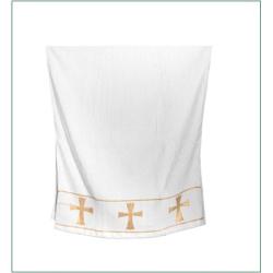 Полотенце крестильное белое с вышивкой золотыми крестами, 70Х140см (100% хлопок)