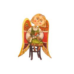 """Сувенир-магнит """"Ангел на стуле"""" цветной, фанера (уп.10шт.)"""